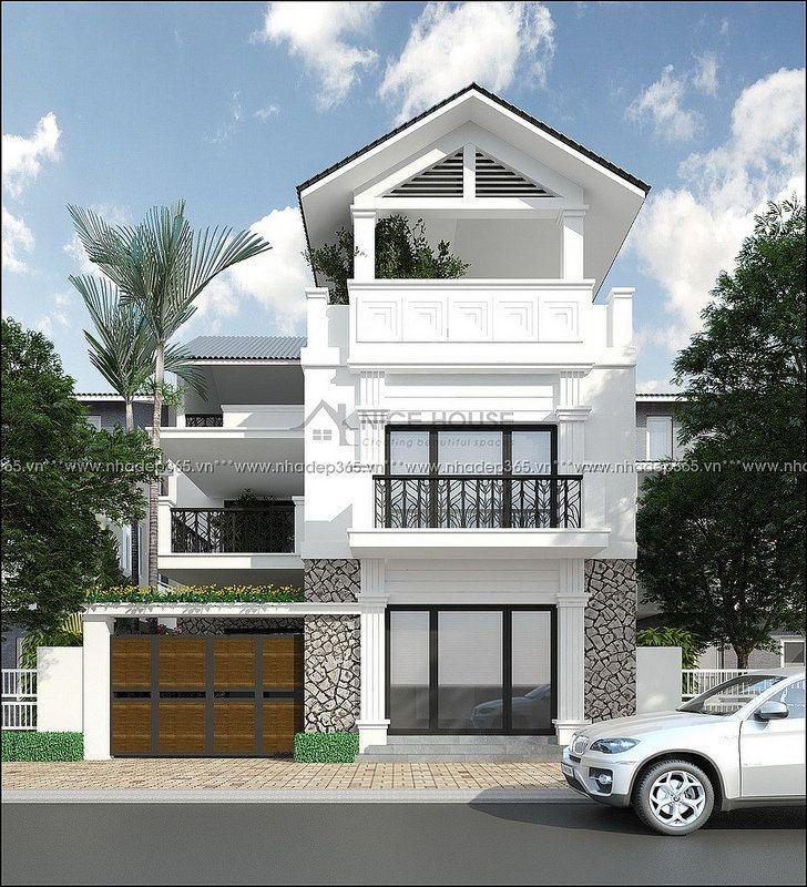 Thiết kế nhà phố biệt thự 3 tầng mái dốc hiện đại
