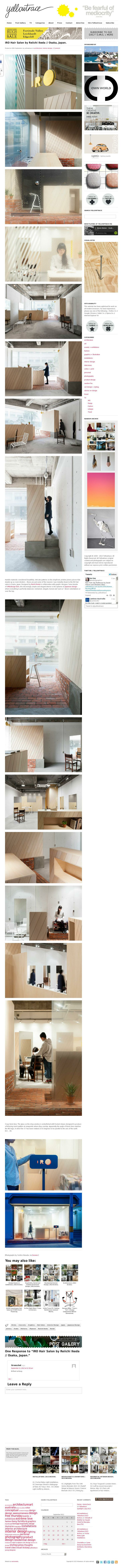 The website 'http://www.yellowtrace.com.au/2012/09/10/iro-hair-salon-by-reiichi-ikeda-osaka-japan/' courtesy of @Pinstamatic (http://pinstamatic.com)