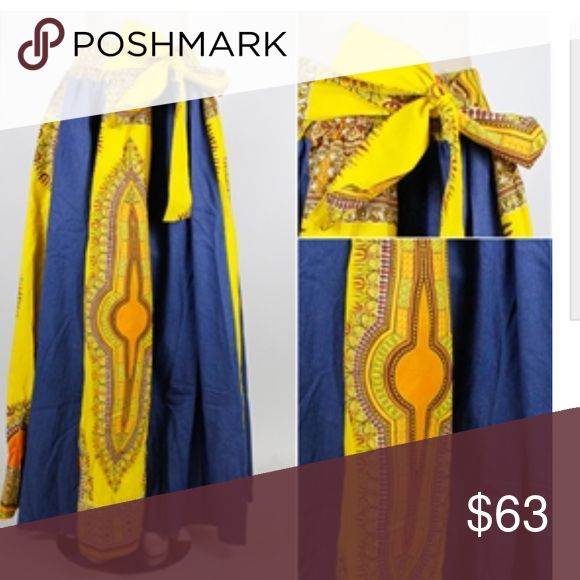 💞New💞Long Denim and Yellow Maxi Skirt Jean Long Maxi Skirt One Size Elastic in Waist fits up to size 5X comes with head scarf.. This is a One size fitted skirt. FT Inc Skirts Maxi