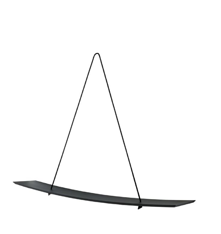 BALANCOIRE Shelf by Alice Rosignoll. Solid ash bowed shelf with a steel hook and black cord.