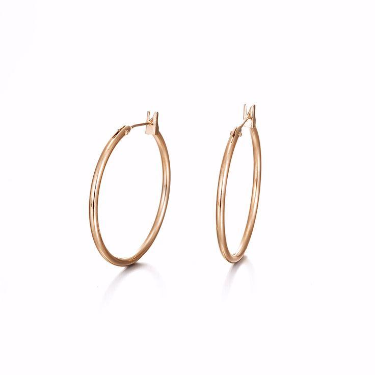 18ct Rose Gold Layered Medium Hoop Earring | Allure Gold