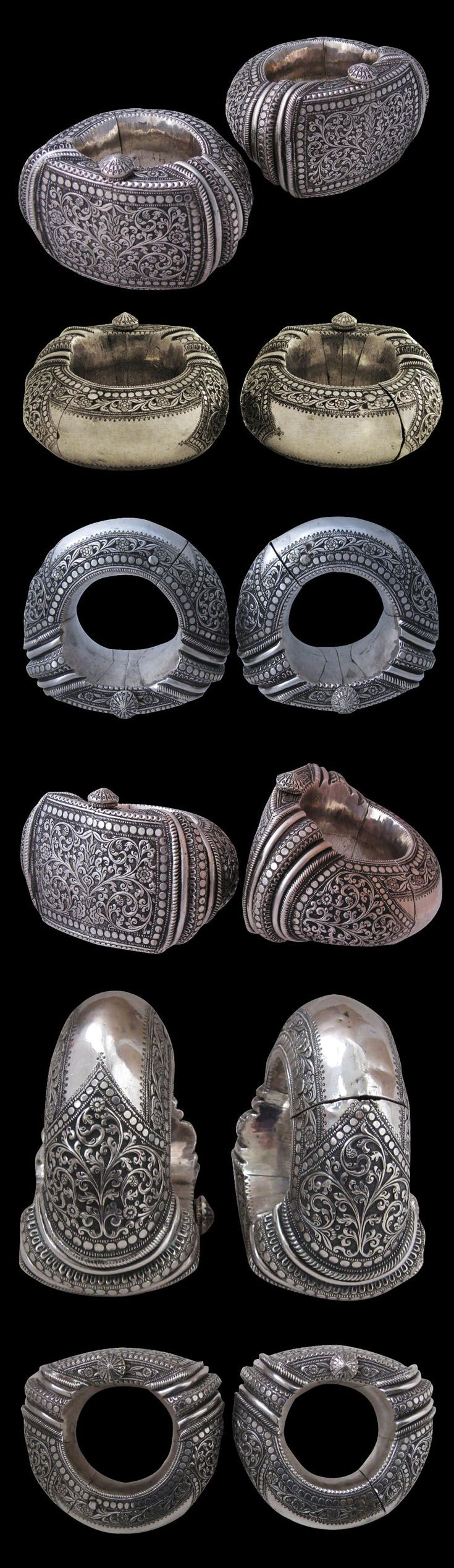India - Gujarat, Vadodara (Baroda) | Pair of large highed anklets (Kadia); hollow sheet silver, decorated with punch decoration, chasing and applique work | ca. 19th century | Sold