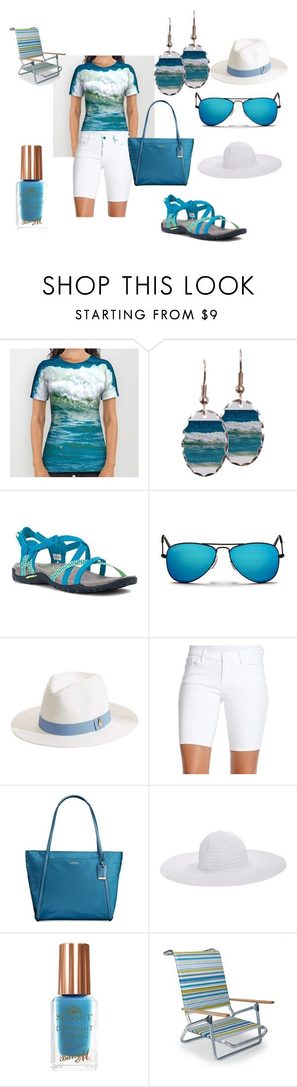 """Jump On In Beach Style"" by momadventurist on Polyvore featuring Merrell, Ray-Ban, Melissa Odabash, Jessica Simpson, Tumi, August Hat, Barry M, Telescope Casual, women's clothing and women"