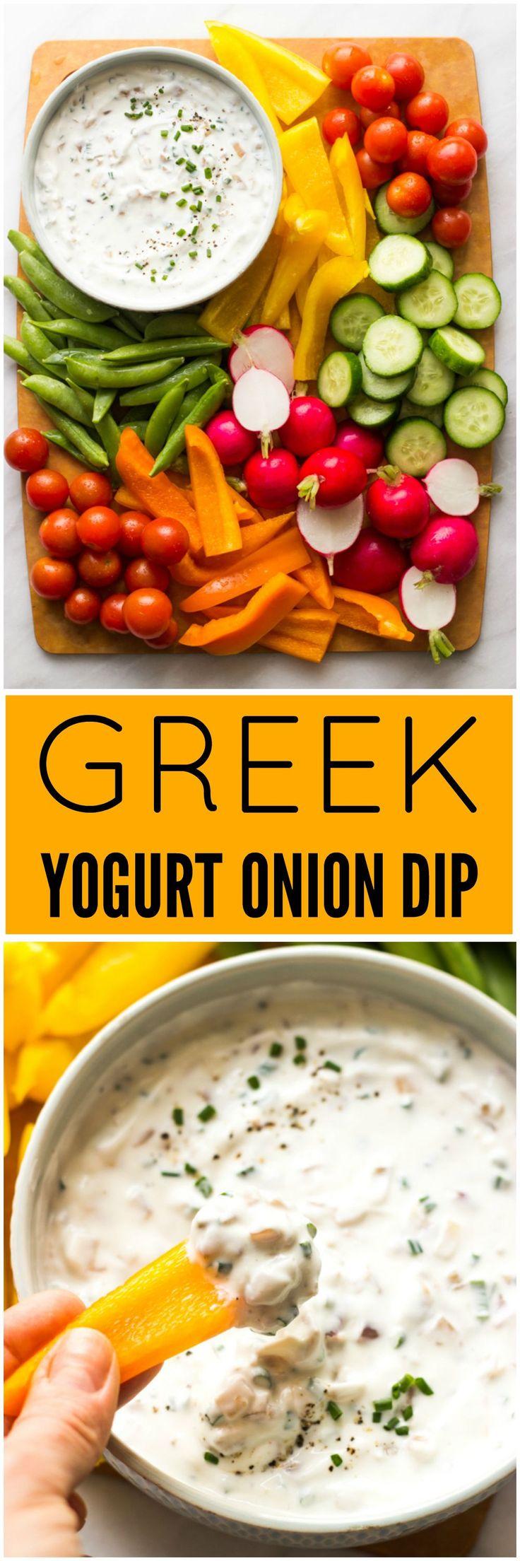Greek Yogurt Onion Dip - healthy onion dip made with Greek yogurt, caramelized shallots, and chives. Only 66 cal per serving! | littlebroken.com @littlebroken
