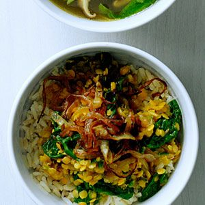 spiced red lentils with caramelized onions, spinach + rice