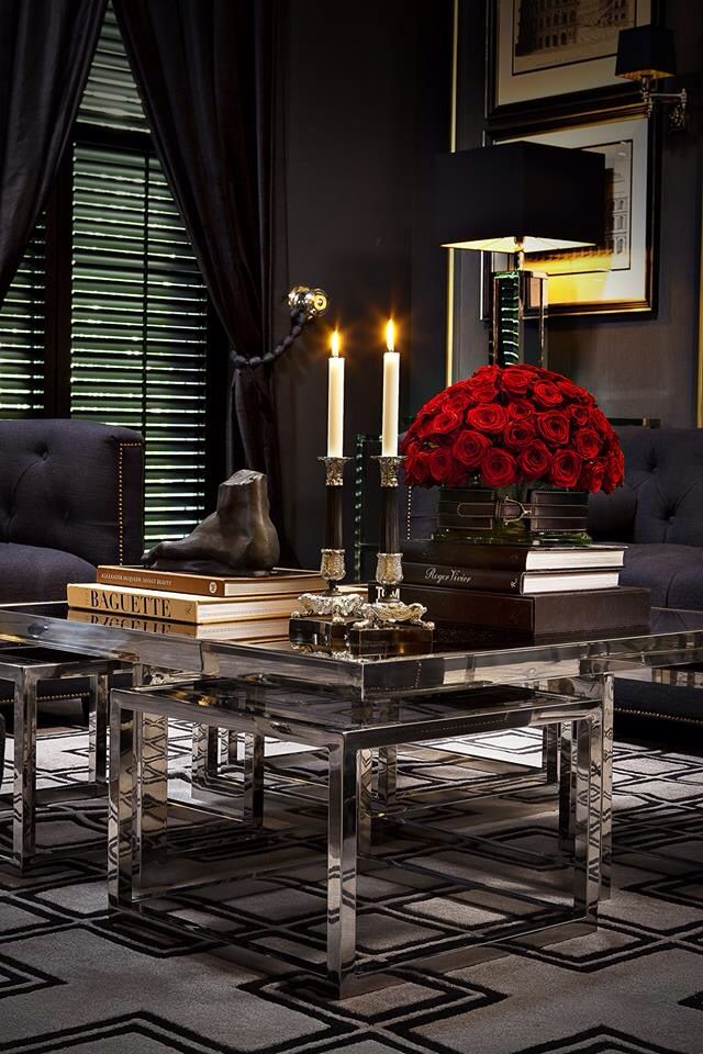 Dark paint colours are a perfect background. Metal reflects light and creates a sophisticated mood.