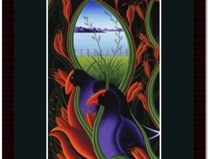 NZ Art - Takahe Amongst the Flax (Framed). Pinned by Ian Anderson http://ianandersonfineart.com