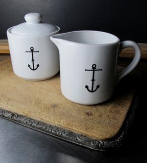 Ceramic Anchor Sugar and Creamer Set