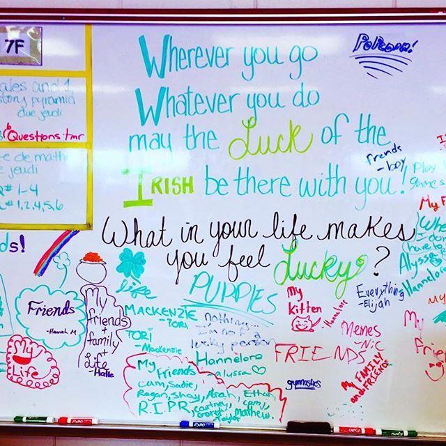 classroom whiteboard ideas. the #luckoftheirish was in full swing today!! #miss5thswhiteboard #iteach7th\u2026 responsive classroomclassroom inspirationclassroom ideasclassroom classroom whiteboard ideas ,