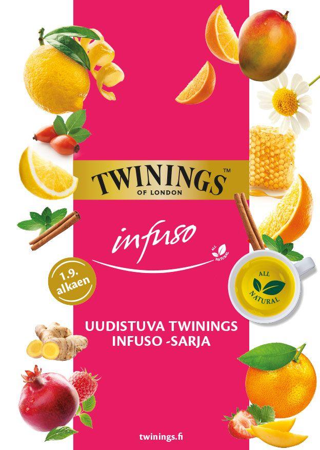 Twinings Infuso -esitteen suunnittelu ja taitto.