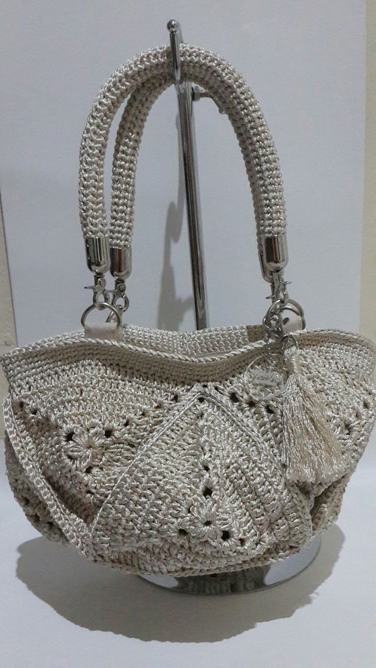 Crochet bag silver  @manka handmade