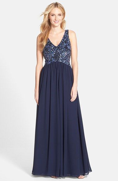 Aidan Mattox Embellished Bodice Mesh Gown available at #Nordstrom