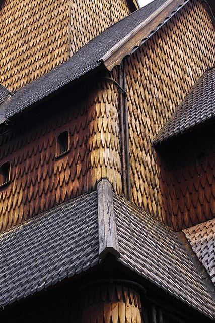 Details of Heddal stave church, Notodden, Norway. Built during the early 13th century, restored 1849-51.