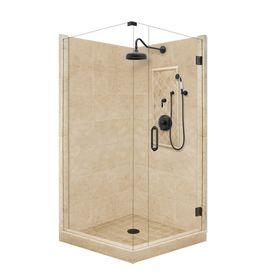 American Bath Factory Panel Medium Fiberglass and Plastic Square Corner Shower Kit (Actual: 86-in x 36-in x 36-in)