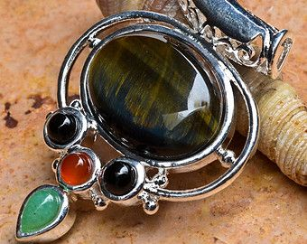 925 Silver plated genuine Blue Tigers Eye Pendant