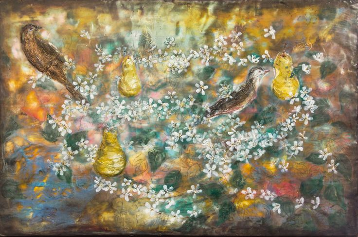 """""""Birds' Dreamscape"""" 60x40cm encaustic art by Mirella Vassallo"""