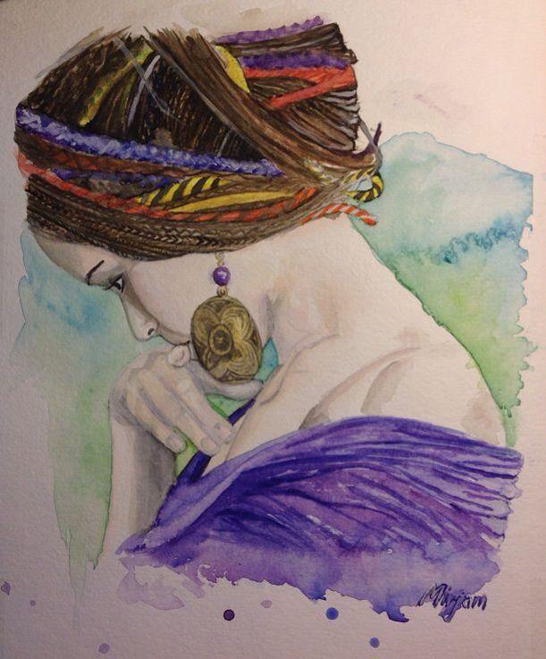 Girl. Bohemian style. Colorful hair. Watercolor/aquarell painting. Facebook page: Mirjam's Art