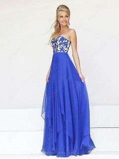 Chiffon Sweetheart Floor-length A-line Embroidery Prom Dresses -NZD$172.99