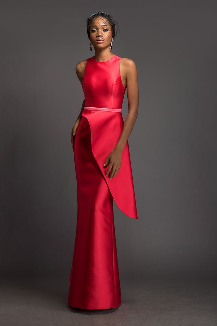 CLAUDIA Alizarin floor length dress with detachable cherry blossom pink and alizarin side peplum by House of Deola | on #bellanaija♥•♥•♥