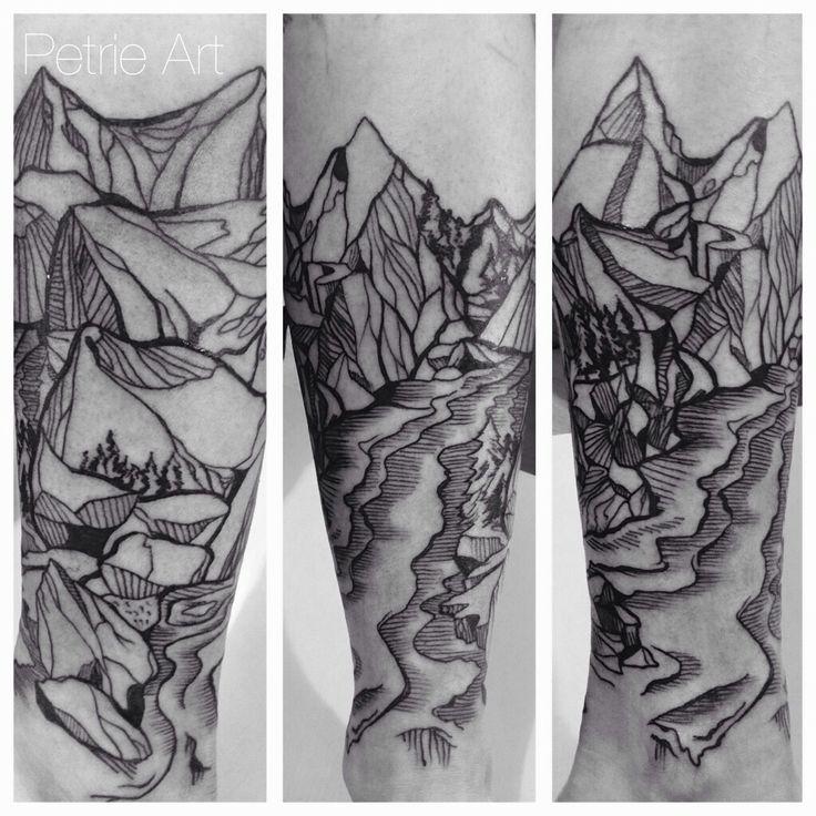 Mountain scape petrie art tattoo helsinki