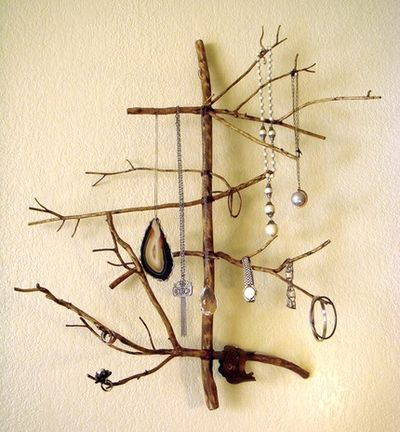 jewelry tree? Shannon used copper wiring to unite several small branches for a natural and rustic way to display her necklaces.