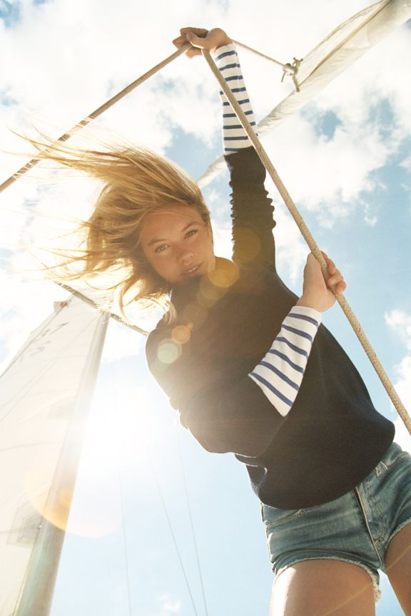 fun photo: Nautical Stripes, Shirts, Boats, Outfit, Mary Claire, Sea, Sailing Away, Denim Shorts, Sun