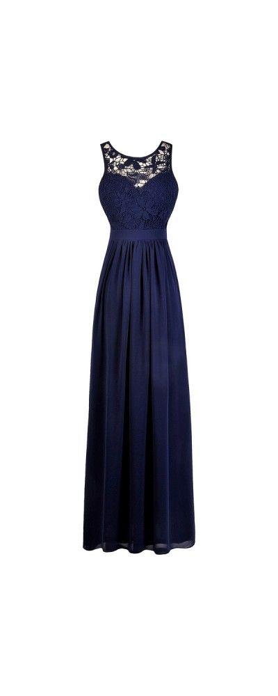 Lily Boutique Bella Fleur Lace Maxi Dress in Navy, $48 Navy Blue Lace Maxi Dress   Navy Maxi Bridesmaid Dress   www.lilyboutique.com