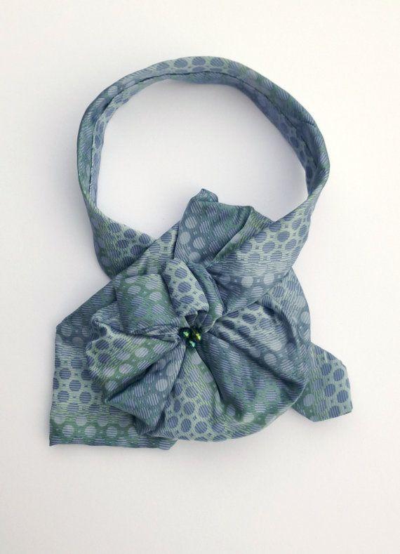 Ladies Silk Necktie Scarf / Upcycled OOAK Scarflette / Perry Ellis Portfolio in lavender & blue green