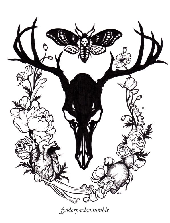 fyodorpavlov:  Fun Hannibal-inspired tattoo that I got to design for a patron! All I could think of while working was terrible food related puns. So, it goes without saying, but please do not remove the accompanying text or the watermark when re-blogging, do not re-post, and please do not use this as a tattoo template for yourself.