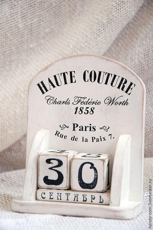 Купить Вечный календарь «Haute couture» - белый, Декупаж, вечный календарь, календарь ручной работы