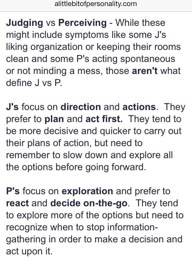 Myers-Briggs (MBTI) - Judging vs. Perceiving (are you a J or a P?)