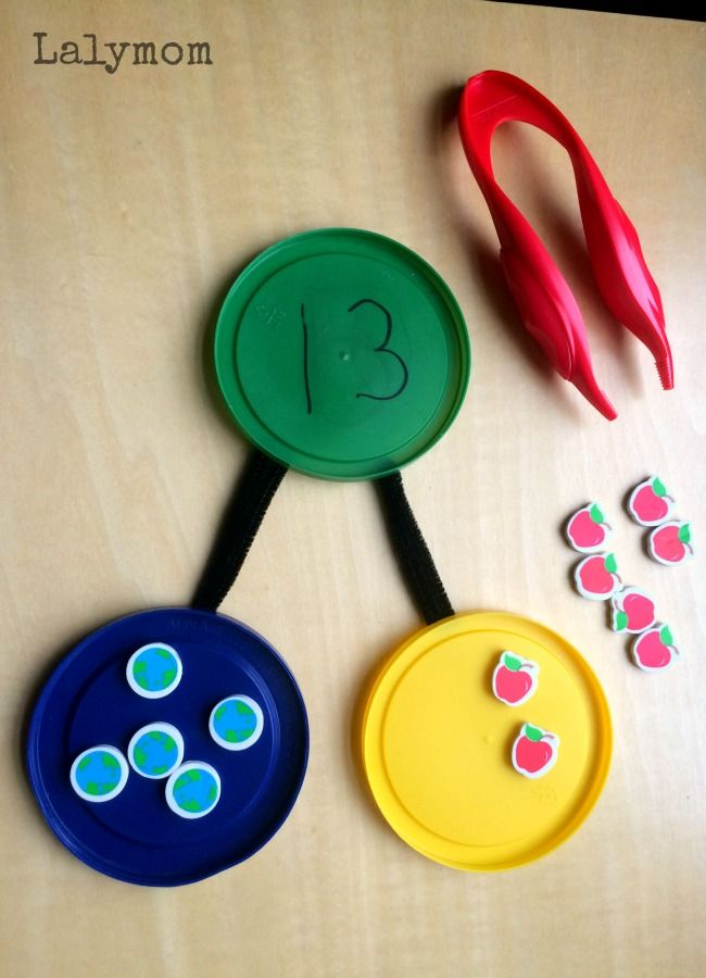 Number Bonds Activity with mini erasers - fun hands-on learning activity for kids
