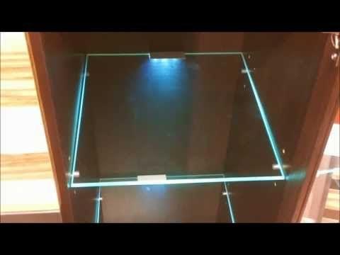 led lights edge lit glass cabinet shelf backlighting how. Black Bedroom Furniture Sets. Home Design Ideas