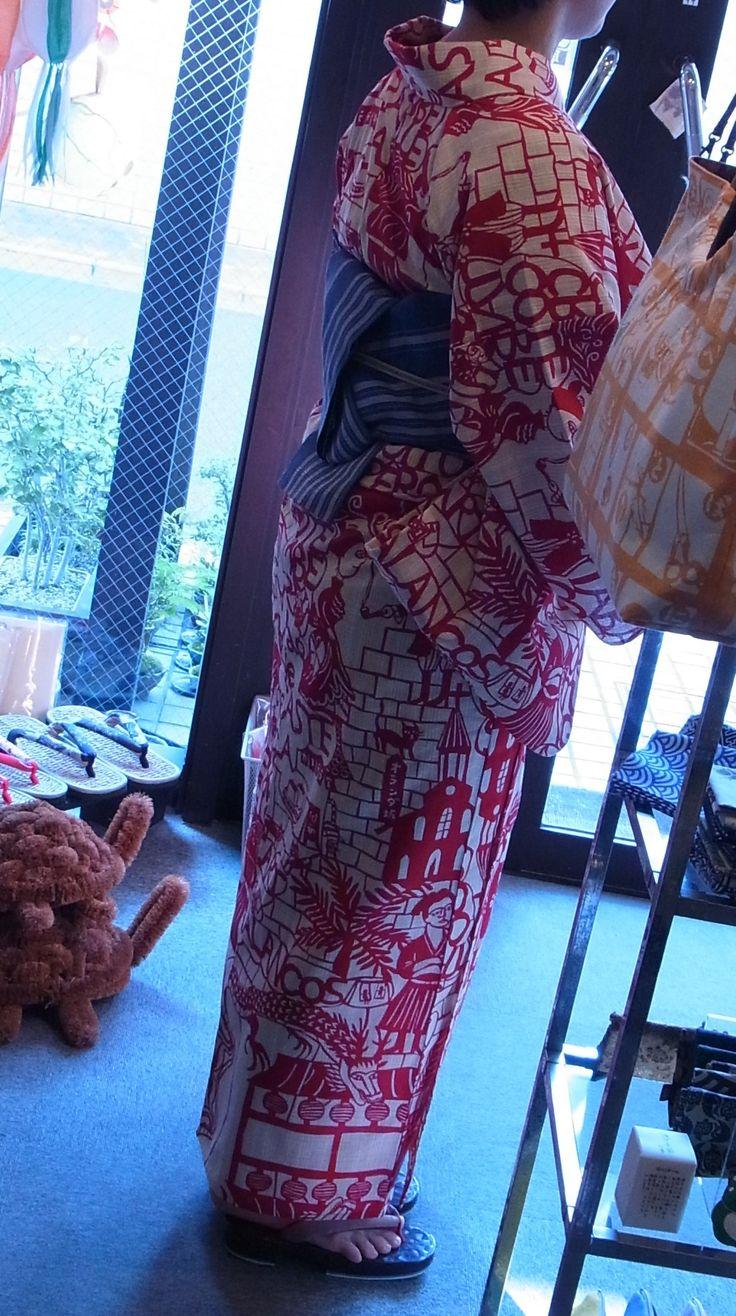 鴨川志野作文明開化赤の浴衣