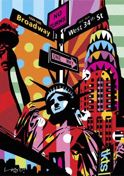 LIBERTY | NEW YORK | LOBO | POP ART www.lobopopart.com.br #popart #nyc #newyorkcity #travel pinterest.com/zoesvintage/new-york-city/
