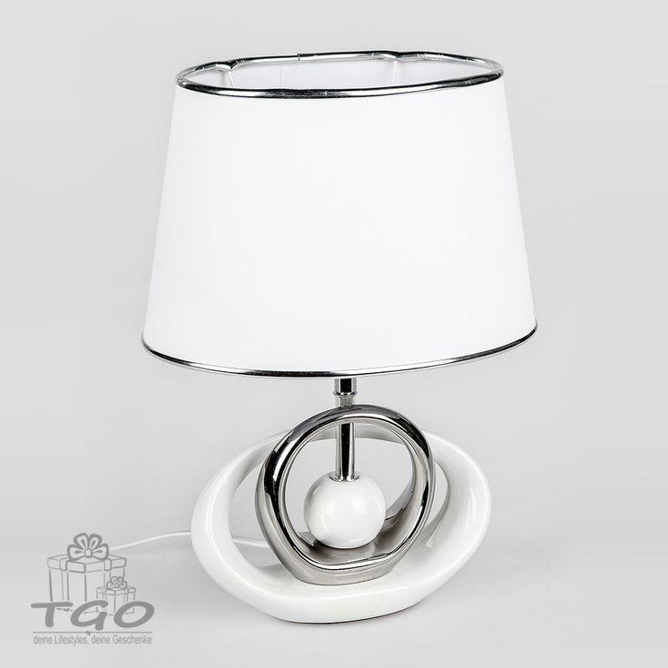 Formano Tischlampe Weiss Silber Hohe 39cm Lampe Tischlampen Lampen Kaufen