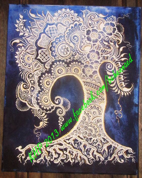 Henna+Mehndi+Tree+of+Life+Canvas+Custom+Colors+Design+by+Behennaed,+$120.00