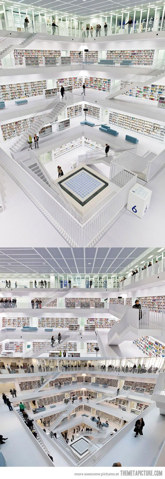 Amazing Library in Stuttgart, Germany. I'm adding this to the list of places to visit when I finally make it back to my birthplace!