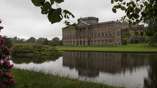 Lyme Park (Pemberley), a National Trust House near Disley in Cheshire, England.  The lake in the foreground is famous for the Colin Firth as Mr Darcy scene in the BBC production of Pride & Prejudice in 2005.