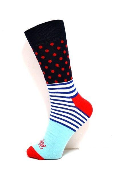 Mens Pattern socks. Colours: Navy, Red, Royal Blue, Light Blue. Polka dots and stripes. #socksforafrica #thesockilove #sil