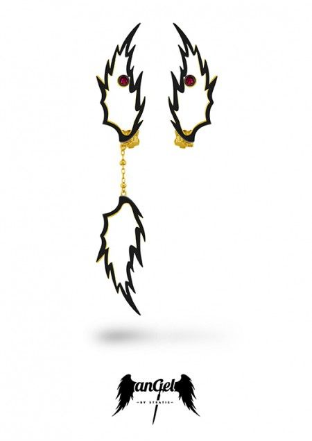 Feather Earrings, the ultimate angelic sign, left as reminder that Angels are continually watching over Humanity. Gold Plated Silver, Rubies 0.16 ct, Black Enamel. Click to find more jewellery pins! #style #design #ideas #jewellery #angelbystratis #voyjewellery #trends #fashion #womens fashion #love  #stratis #stratisvoyiatzis #stratisvogiatzis