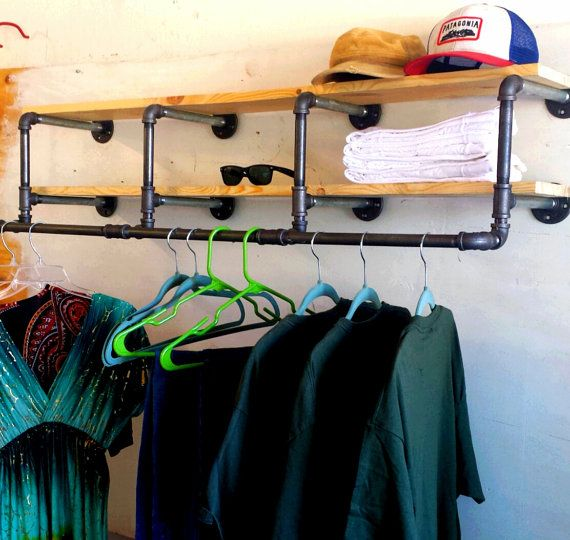 50 inch industrial Clothing Rack and Double by CoronaConceptsCo
