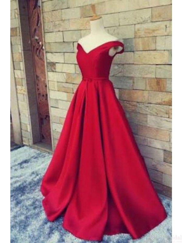 Red Off Shoulder Floor-Length Prom Dress Ball Gown Evening Dresses #promdresses #SIMIBridal