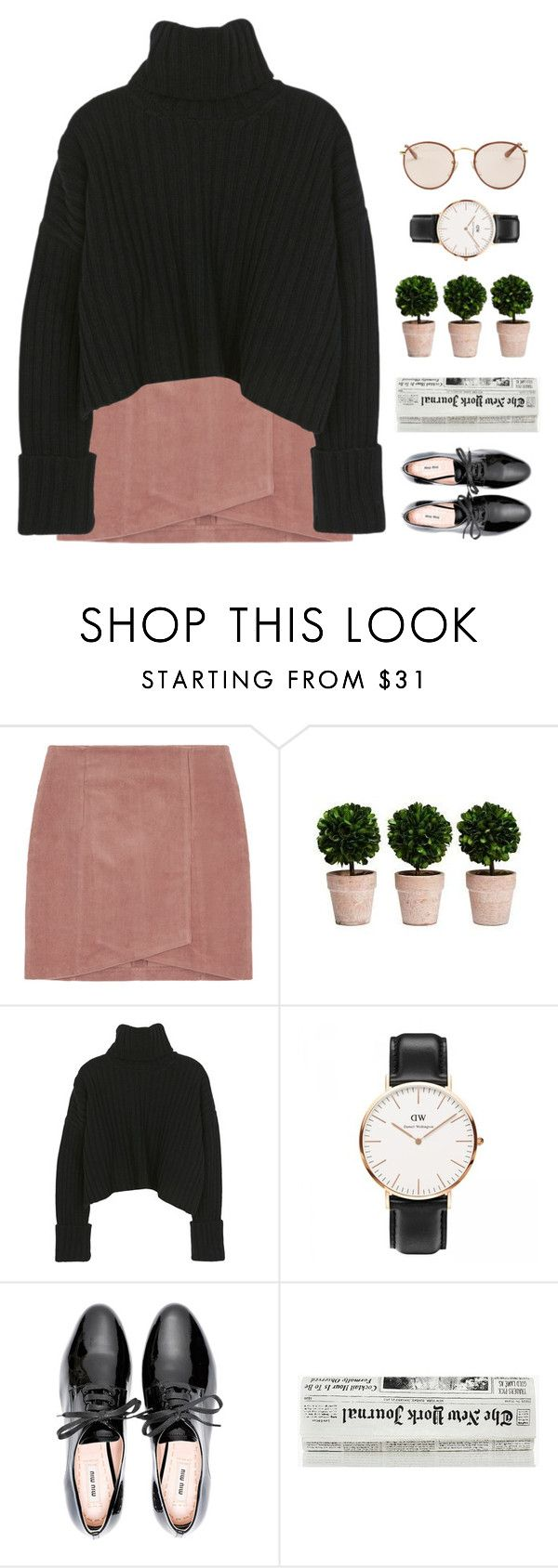 """""""// dw . 1 //"""" by theonlynewgirl ❤ liked on Polyvore featuring Miu Miu, Ray-Ban and danielwellington"""