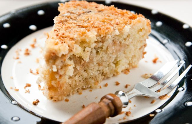 Feijoa and coconut cake with coconut drizzle
