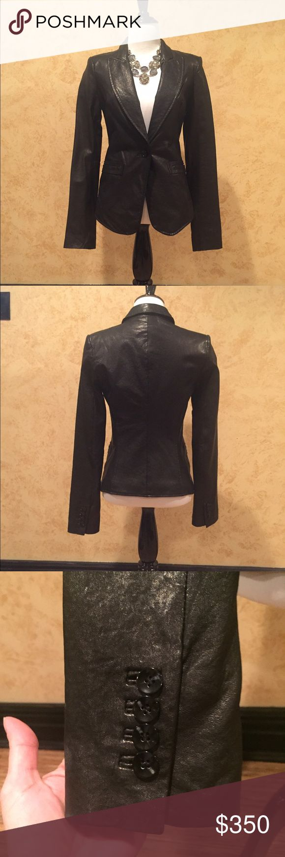 RACHAEL ZOE - Black Leather Blazer NWT, it was always a little tight on me, so I never wore it. My loss, your gain!  💯% genuine leather, w/1 button close, 2 slit pockets, 4 button detail on each sleeve & fully lined. Very sharp looking jacket! Rachel Zoe Jackets & Coats Blazers