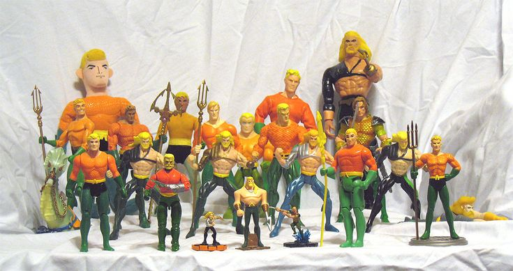 Aquaman figure collection. Challenge accepted. Already have 1 from this group and the Aquaman New 52 JL (not pictured)