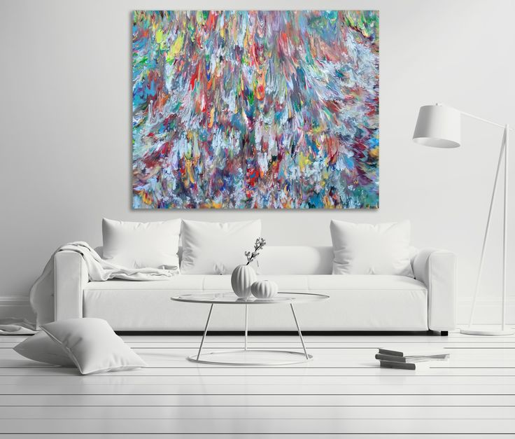 """Triton's Revenge, Original Extra-Large Abstract Painting, 60"""" x 48"""" x 1.5"""", Statement Piece for Contemporary Interiors   Available exclusively on 1st Dibs via Flat Space Art by Alexandra Romano ©  #1stdibs #abstractart #largepaintings #acrylicpainting #colorfulart #oceanpainting #bluepainting #artforsale #paintingsforsale"""