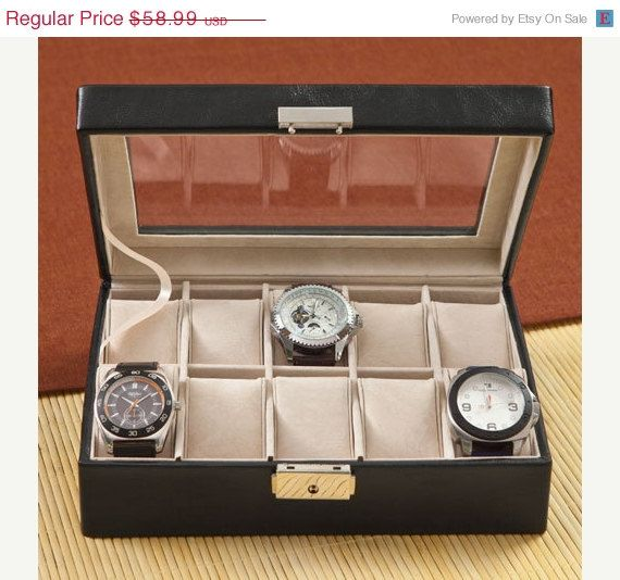 On-Sale Mens Leather Watch Box  by RCPersonalizedGifts on Etsy