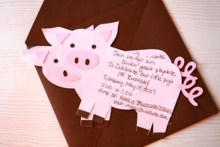 Pig Birthday Party Invitation & Wording